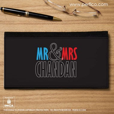 Mr. and Mrs. Personalized Cheque Book Holder