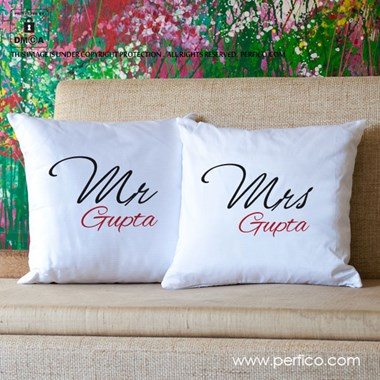 Mr. and Mrs. Personalized Luxury Cushion Covers