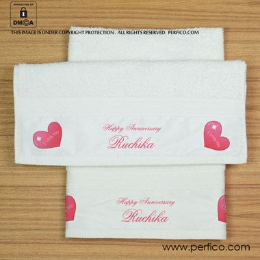 Happy Anniversary Personalized Hand Towel
