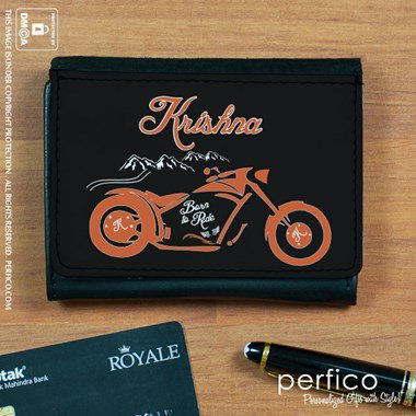 Born to Ride Personalized Leather Wallet for Men