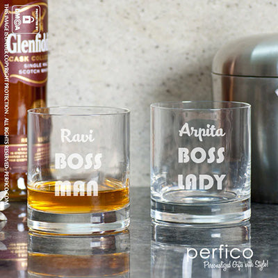 BOSS © personalized Whisky Glasses for Husband and Wife