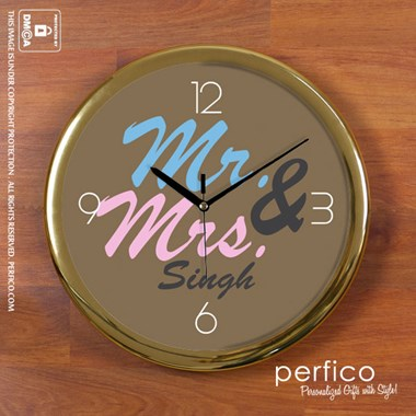 Mr. and Mrs. Personalized Wall Clock