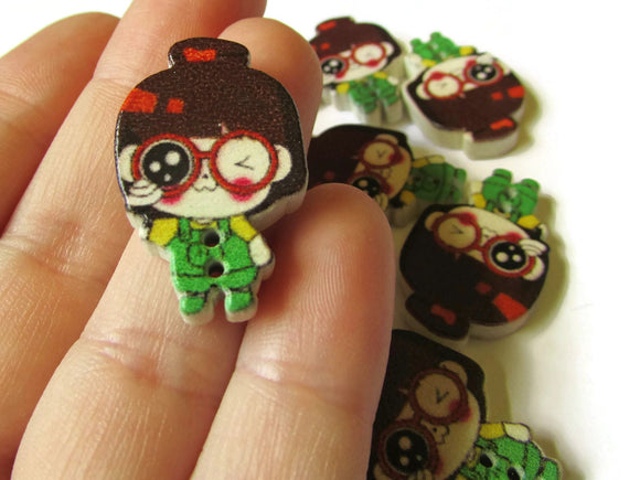 10 29mm Green Overalls Brown Hair Girl Wooden Two Hole Buttons Cute Buttons Kawaii Buttons Sewing Supplies Wood Buttons Green Buttons