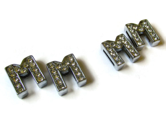 M Rhinestone Bead Silver Beads Letter Beads Symbol Beads Letter M Beads M Slide Beads White Silver Beads Platinum Beads Charms