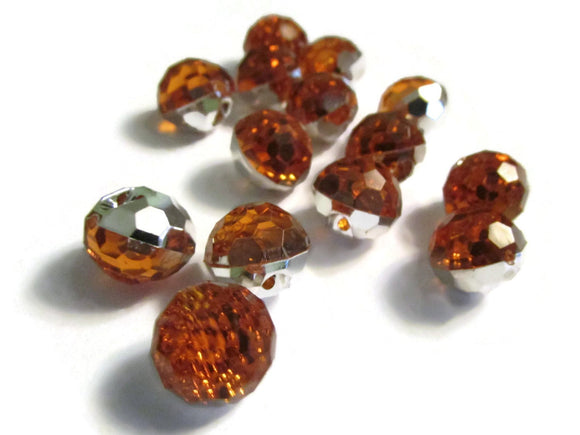 12mm Orange Topaz Buttons Acrylic Buttons Round Buttons Faceted Buttons 1 hole buttons Jewel Tone Buttons Shank Buttons Sewing Supplies