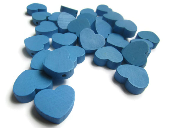 19mm Blue Heart Beads Blue Wooden Beads Loose Beads Wood Beads Loose Beads Large Beads Jewelry Making Beading Supplies Top Drilled Beads