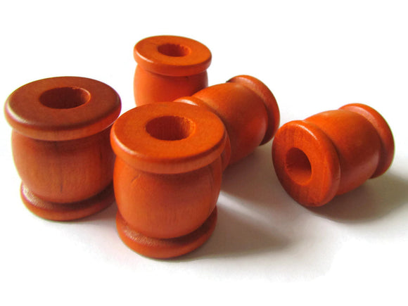 22mm Orange Drum Beads Big Wooden Beads Orange Spool Beads Large Hole Beads Vintage Wood Beads Tube Beads Jewelry Making Beading Supplies
