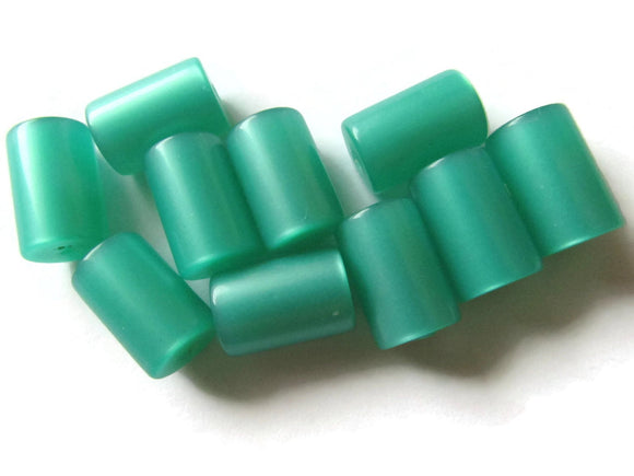 13mm Green Tube Bead Vintage Lucite Beads Moonglow Lucite Bead Loose Beads New Old Stock Beads Plastic Beads Acrylic Beads Jewelry Making
