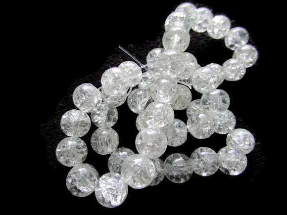 Clear Crackle Glass Beads 10mm Round Beads Colorless Cracked Glass Beads Jewelry Making Beading Supplies Loose Beads Smooth Round Beads
