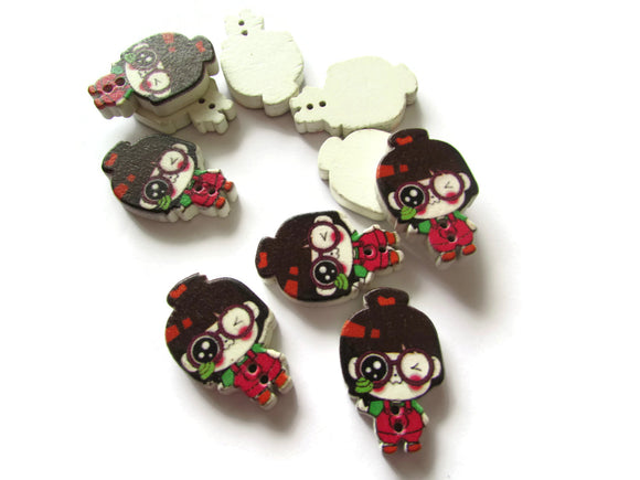 10 29mm Red Overalls Green Shirt Brown Hair Girl Wooden Two Hole Buttons Kawaii Buttons Cute Buttons Red Buttons Sewing Supplies