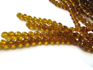 6mm Round Crystal Beads Brown Beads Crystal Glass Beads Full Strand Beading Supplies Jewelry Making Faceted Round Beads