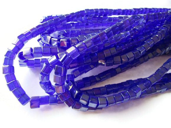 5mm Royal Blue Crystal Cube Beads AB Finished Jewelry Making Beading Supplies Full Strand Loose Beads Small Square Beads Crystal Glass Beads