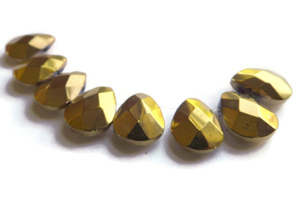 8 16mm Gold Glass Briolette Beads, Faceted Teardrop Beads, Large Shiny Beads Jewelry Making and Beading Supplies Smileyboy Full Strand Beads