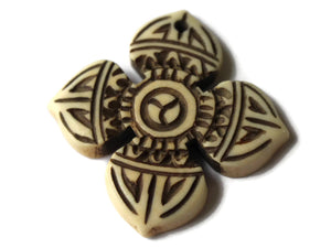 36mm Bone Cross Pendant Religion Beads and Charms Hand Carved Pendants Antique Brown Bone Charms Religion Beads White Bone Pendant