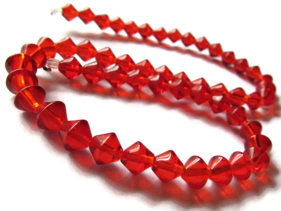 53 8mm Red Bicone Beads Glass Beads Full Strand Beading Supplies Jewelry Making Beading Supplies Smileyboy