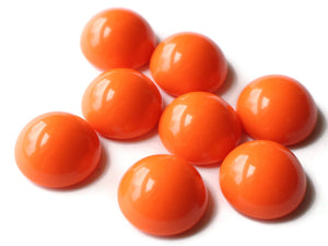 20mm Bright Orange Vintage Japanese Lucite Cabochons Round Dome Flat Back Cabochons