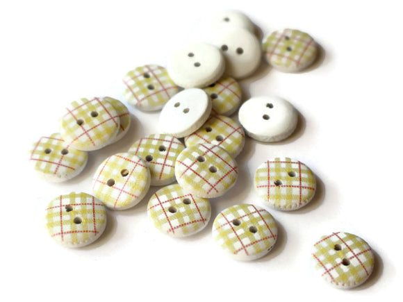 13mm Yellow Buttons Tartan Plaid Buttons Two Hole Buttons Round Buttons Wooden Buttons jewelry Making Sewing Supplies White Buttons
