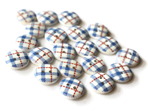13mm Two Hole Buttons Blue Buttons Tartan Plaid Buttons Round Buttons Wooden Buttons Wood Buttons Jewelry Making Sewing Supplies