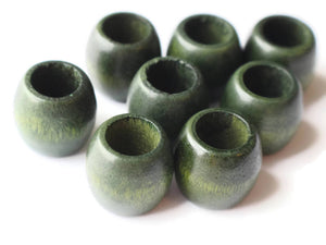 17mm Wooden Barrel Beads Large Hole Beads Green Vintage Wood Beads Chunky Beads Macrame Beads Loose Beads Smileyboy Beading Supplies