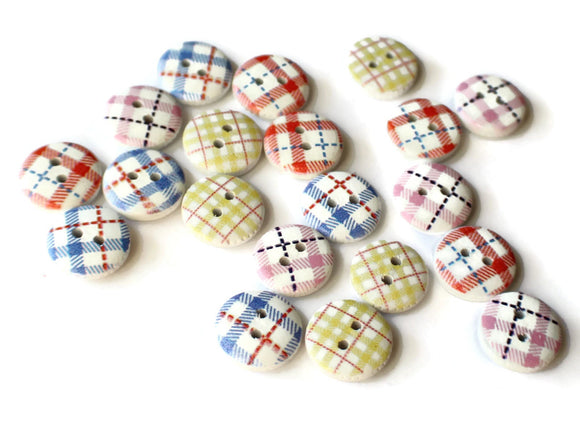 13mm Two Hole Buttons Assorted Color Tartan Plaid Buttons Round Buttons Wooden Button Mixed Color Buttons Multicolor Buttons White Button