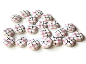 13mm Two Hole Buttons Pink Buttons Tartan Plaid Button Round Buttons Wooden Buttons White Buttons Jewelry Making Sewing Supplies