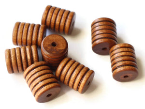 20mm Vintage Wooden Tube Beads Striped Wood Beads Brown Grooved Beads Macrame Supplies Jewelry Making Beading Supplies Lined Barrel Bead