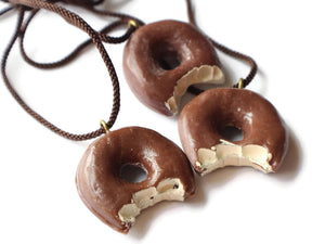 Brown Donut Pendant 24 Inch Necklace Vintage Pendants Japanese Resin Food Jewelry Food Pendant Bakery Pendant Chocolate Glaze Donut Bead