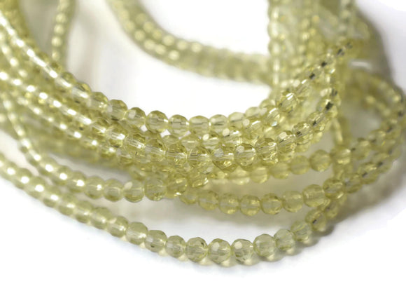 4mm Round Beads Faceted Round Beads Butter Yellow Glass Beads Full Strand Jewelry Making Beading Supplies