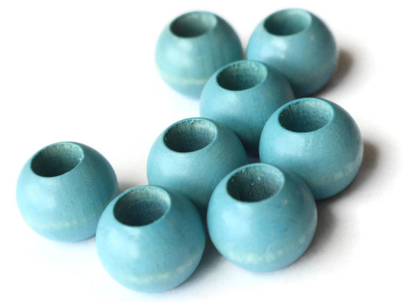 20mm Sky Blue Wooden Beads Large Hole Beads Wood Macrame Beads Round Bead Ball Bead Jewelry Making Beading Supplies Lightweight Wood Beads
