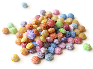 Assorted Color Rose Flower Beads 8x5mm Beads Small Plastic Beads Acrylic Flower Beads Mixed Color Beads Rose Beads Rainbow Colored