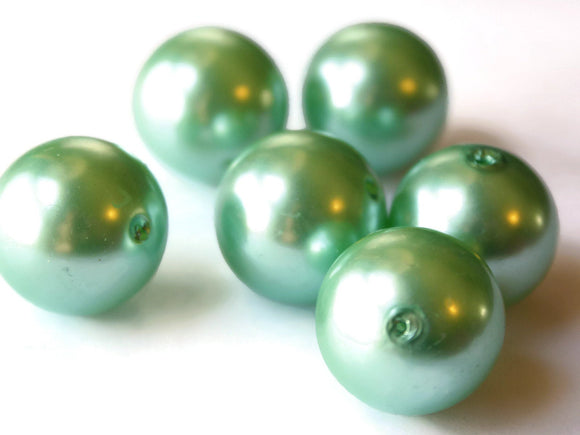 24mm Light Green Pearls Faux Pearls Imitation Pearls Plastic Pearl Beads Jewelry Making Beading Supplies Mint Green Loose Beads Smileyboy