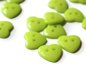 14mm Lime Green Heart Buttons Plastic Buttons Acrylic Buttons Love Buttons Jewelry Making Beading Supply Sewing Supplies Two Hole Buttons