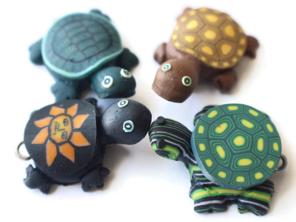 Mixed Turtles Assorted Shell Turtle Charms Tortoise Links Beads Jewelry Making Beading Supplies Polymer Clay Turtle Beads Smileyboy