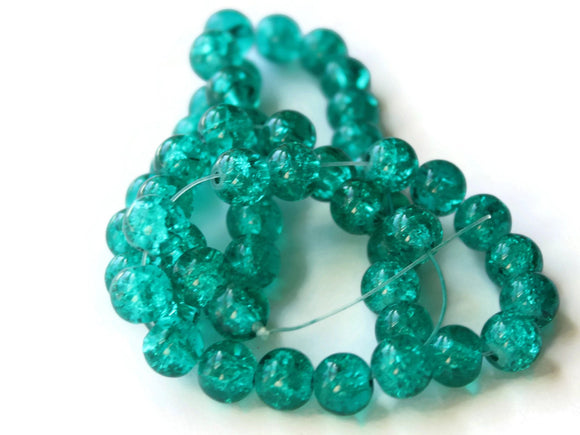 Green Crackle Glass Beads 8mm Round Beads Jewelry Making Beading Supplies Full Strand Loose Beads Cracked Glass Beads Smooth Round Beads