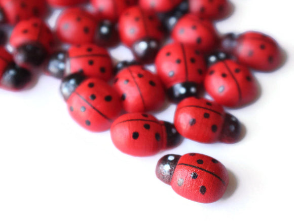 Wooden Ladybug Cabochons Lady Bug Cabs Flat Back Cabochons Beetle Decoden Red and Black Spotted Scrapbooking Supplies
