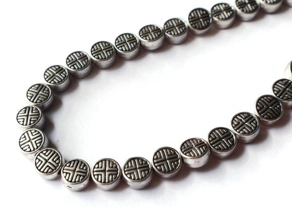 6.3mm Flat Round Beads Antique Silver Beads Celtic Cross Beads 8 Inch Strand Tibetan Style Beads Small Beads Metal Cross Beads Smileyboy