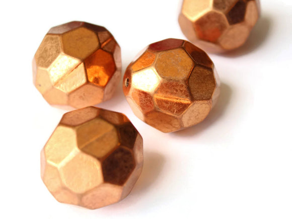 30mm Faceted Round Beads Vintage Red Copper Plated Plastic Bead Jewelry Making Beading Supplies Ball Beads Loose Beads Large Beads