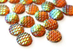 Golden Orange Mermaid Cabochons 12mm Round Cabochons Fish Scale Cabochons Scrapbooking Jewelry Making Supplies