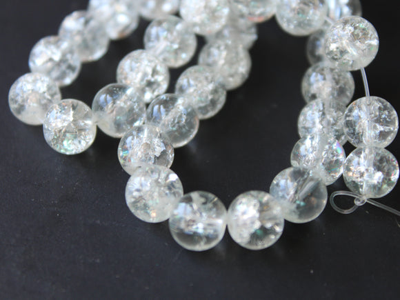 Clear Crackle Glass Beads 8mm Round Beads Jewelry Making Beading Supplies Full Strand Loose Beads Cracked Glass Beads Smooth Round Beads