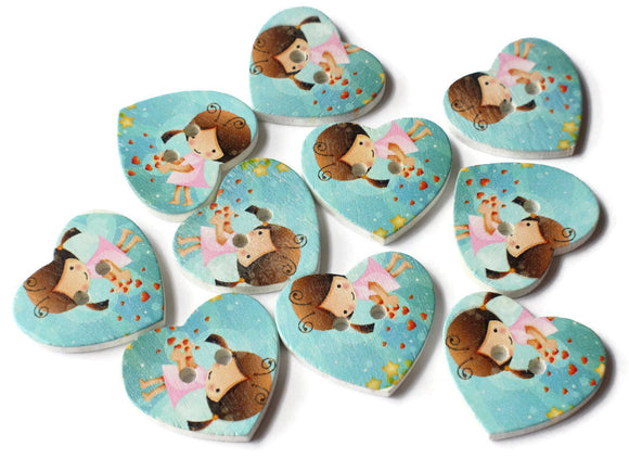 25mm Blue Heart Buttons 2 Hole Wooden Buttons with Girl Sewing Supplies Jewelry Making Scrapbooking and Beading Supplies Loose Buttons
