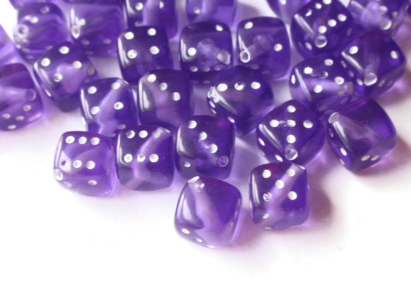 Reserved 74 Purple Dice Beads 8mm Cube Beads Plastic Cube Beads Six Sided Dice Acrylic Dice Beads