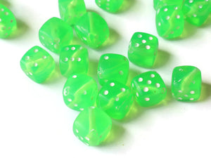 Green Dice Beads 8mm Cube Beads Plastic Dice Beads 6 sided Dice Beads Quantity 50 Acrylic Cube Beads