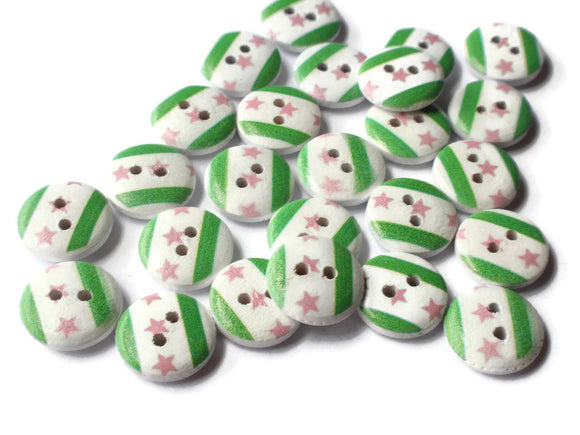 13mm White Round Buttons 2 Hole Loose Wooden Buttons Green and Pink Sewing Supplies Jewelry Making Scrapbooking and Beading Supplies