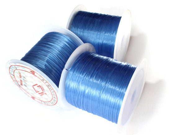 Dark Sky Blue Elastic Cord 0.8mm Elastic Thread 10 Meters per roll of Beading Elastic Wire Beading Cord Thread Stretchy Cord