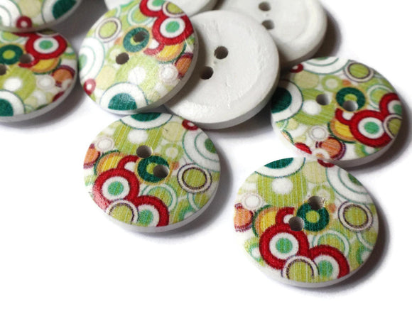 23mm Buttons Dot Buttons Colorful Buttons Multicolor Buttons 2 Hole Buttons Wood Buttons Round Buttons Jewelry Making Sewing Supplies