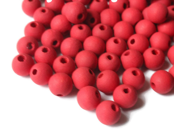 100 7mm Red Wood Beads Smooth Round Beads Ball Beads Wooden Beads Jewelry Making Beading Supplies Loose Beads Vintage New Old Stock Beads