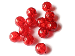 16mm Red Beads Vintage Lucite Beads Round Beads Ball Beads Sphere Beads Transparent Beads Jewelry Making Beading Supplies New Old Stock