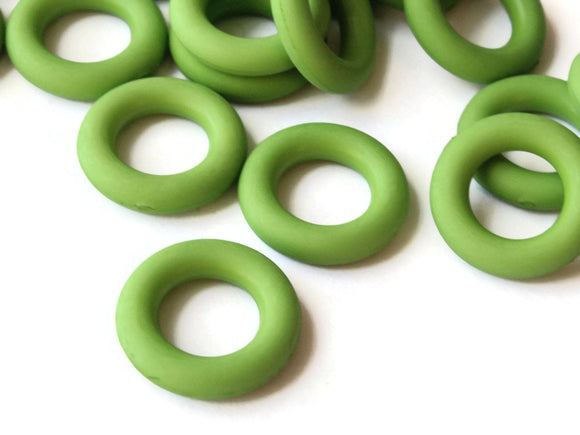 18mm Green Ring Beads Vintage Plastic Links Jewelry Making Beading Supplies Loose Beads Large Hole Donut Beads Spacer Beads