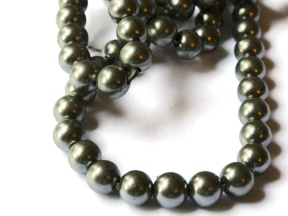 6mm Gray Faux Pearl Beads Vintage Acrylic Round Beads Jewelry Making Beading Supplies Small Plastic Ball Beads Spacer Beads