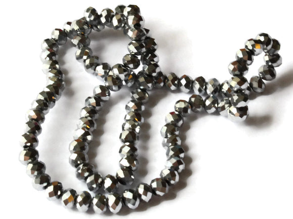 Silver Plate Beads Glass Beads Faceted Rondelle Beads Full Strand Beads 4x6mm Beads Silver Electroplate Abacus Beads